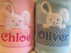 Personalised Easter bunny baby blanket for girl or boy gift christening New baby any name embroidered girls boys pink and blue by Thebabycakery on Etsy