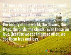 The more often we see the things around us - even the beautiful and wonderful things - the more they become invisible to us. That is why we often take for granted the beauty of this world: the flowers, the trees, the birds, the clouds - even those we love. Because we see things so often, we see them less and less.