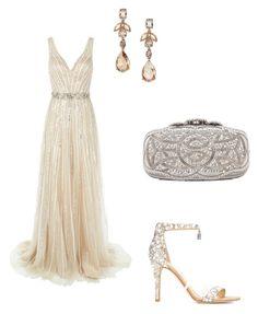 """""""Golden style - Night dresse"""" by kennie-arnal on Polyvore featuring mode, Jovani, Oscar de la Renta et Jimmy Choo"""