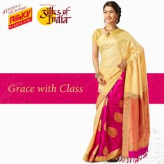 With an amazing combination of two contrasting colors, this pure silk saree is an example of grace and class! The beige body complements well with the magenta pleats section. Order now - https://www.rmkv.com/product/wedding-collections1658-16541