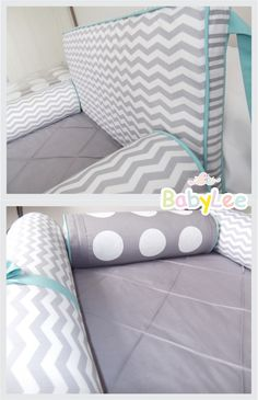 Kit berço chevron cinza e turquesa ....grey and turquoise chevron crib bedding