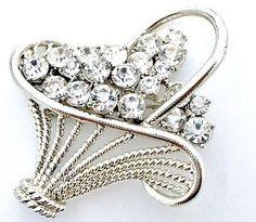 Vintage Clear Rhinestone Basket Silver Brooch Fashion Jewelry
