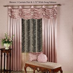 The breathtaking, polyester crepe satin Paris Window Treatment displays regal elegance, combined with romance. Tailored, lined, wide Curtains are solid satin with a rod pocket; Tailored Curtain, Satin Curtains, Colorful Curtains, Shabby Chic Curtains, Rose Gold Curtains, Luxurious Bedrooms, Drapes Curtains, Curtain Decor, Wide Curtains