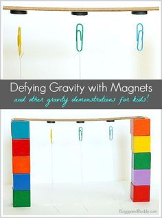 Science Experiment for Kids: Exploring gravity with magnets and paperclips. Hands-on activity encouraging the exploration of magnetism and physics. Kindergarten Science, Science Classroom, Science For Kids, Science Fun, Magnets Science, Summer Science, Science Ideas, Science Lessons, Science Display