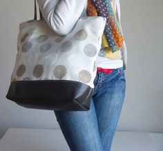 Silver Grey Leather Tote Bag  Polka Dot Tapestry by dawnaparis, €50.00