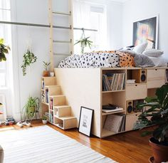 Elevated bed with storage