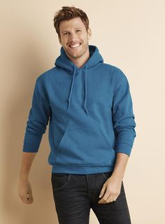 A classic! This Gildan Heavy Blend Hooded Sweatshirt is made of a cotton/polyester blend. It's and has air jet spun yarn for a softer feel. No pilling wash after wash! Hooded Sweatshirts, Hoodies, 50th, Stylish, Classic, Cotton, Fashion, Derby, Moda