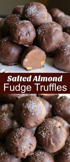 Rich chocolate fudge truffles made with addition of toasted almond and sea salt. These decadent chocolate truffles have ever so satisfying sweet and salty flavor pallet with a little crunch. Decadent Chocolate, Chocolate Treats, Chocolate Truffles, Chocolate Recipes, Chocolate Fudge, Chocolate Covered, Almond Chocolate, Fudge Recipes, Candy Recipes