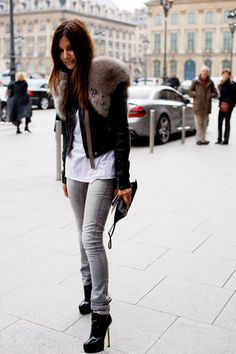 christine centenera - casual oerfection! grey jeans, white tee & leather jacket with fur shoulder detail. lurvvvvvvvveeeeeee her style!
