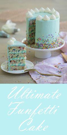 Colorful Funfetti Cake Tutorial - 15 Spring-Inspired Cake Decorating Tips and Tu. - Colorful Funfetti Cake Tutorial – 15 Spring-Inspired Cake Decorating Tips and Tutorials Estás en - Funfetti Kuchen, Funfetti Cake, Just Desserts, Delicious Desserts, Dessert Recipes, Oreo Cake Recipes, Baking Desserts, Cheesecake Recipes, Food Cakes