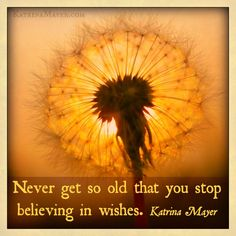 Never get so old that you stop believing in wishes. Katrina Mayer