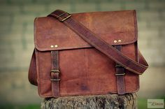 This is classically designed, authentically styled, vintage look, hand crafted genuine long-lasting goat leather messenger bag. The inner lining is