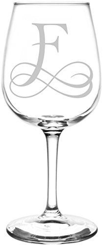 Monogrammed F | Vintage Double Infinity Symbol Wedding Monogram Inspired - Laser Engraved Libbey Wine Glass.  Full Personalization available!  Fast Free Shipping & 100% Satisfaction Guaranteed.  The Perfect Gift!
