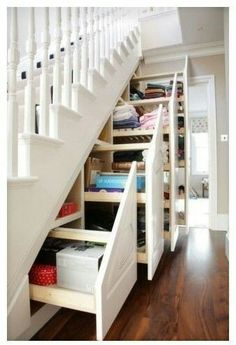 Love the storage under the stairs