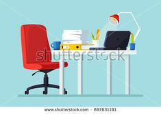 Office room. Workplace for worker. Modern interior. Desk with laptop, documents, cactus in pot isolated on background. Empty seat, chair for employee. Vector cartoon illustration. Flat design