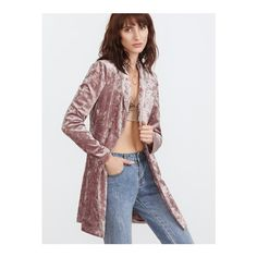 SheIn(sheinside) Pink Shawl Collar Double Breasted Longline Crushed... ($35) ❤ liked on Polyvore featuring outerwear, jackets, blazers, pink, long fitted blazer, long sleeve jacket, embellished blazer, double breasted jacket and shawl collar jacket