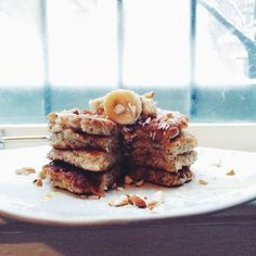 Vegan Gluten-Free Fluffy Blueberry Banana Pancakes-  www.wholehealthyglow.com