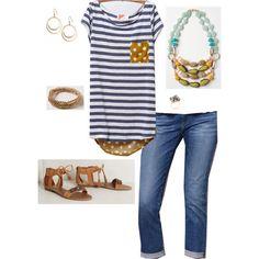 Pattern Pop Tee/ AG Stevie Roll-Up Jeans/ Briza Sandals/ Naturalist Gem Layer Neckalce