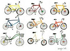 bike art Go Ride, 3rd Wheel, Bike Art, Baby Boy Nurseries, Art For Kids, Cool Photos, Stencils, Print Patterns, Illustration Art