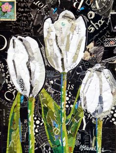 Nancy Standlee Fine Art: ArtByte Collage Tutorial is Ready, Etsy Paper Collage, NancyStandleeArt, XOXO Tulips 13066, Torn Paper Collage Pape...