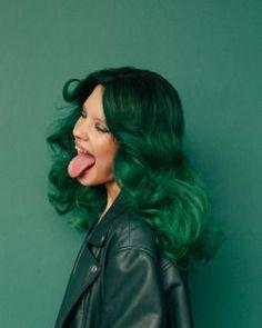 Dark green hair.