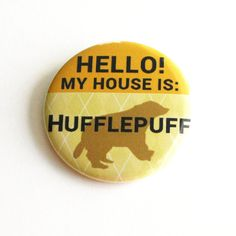 Harry Potter Buttons Geeky Accessories Hufflepuff Hogwarts Yellow... ($2) ❤ liked on Polyvore featuring harry potter