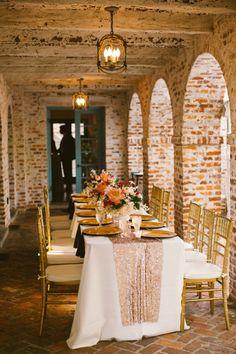 Sparkly wedding table: http://www.stylemepretty.com/florida-weddings/winter-park-fl/2014/10/15/romantic-winter-park-wedding-at-casa-feliz/   Photography: Shannon Lee Miller - http://www.shannonleemiller.com/