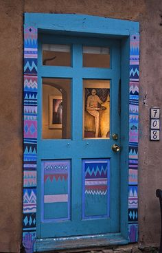 Canyon Road Art, Santa Fe, New. Come to Santa Fe NM goto Santa Fe Hotels merchandising. Cool Doors, Unique Doors, Santa Fe Style, When One Door Closes, Canyon Road, New Mexico, Mexico Style, Closed Doors, Door Knockers