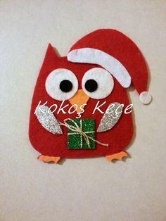 *** Kokoş Keçe *** Baykuş artık noel baba oldu :) Sizzix, owl, felt, filz,Father Christmas