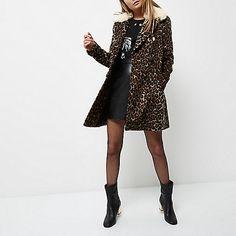 Brown leopard print faux fur trim overcoat - coats - coats / jackets - women