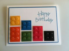 Lego card - Kendra Nakama, Inspired by many cards on here. My son chose the sentiment stamp for his friend's birthday card. The squares are 1x1 and 1x2. The circles are from the owl builder punch.