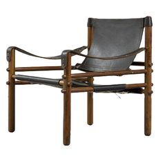 """Safari"" chair in solid rosewood with leather upholstery. Designed by Arne Norell, Sweden, circa 1964."