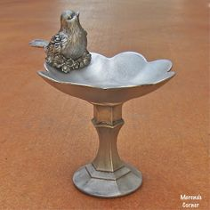 Faux Silver Birds and Flowers Pedestal Bowl | Morena's Corner