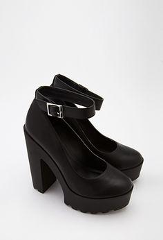 Lug Sole Ankle Strap Platform Heels | FOREVER21 | #stepitup