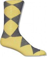 Yellow Cotton Argyle Socks (Men's)