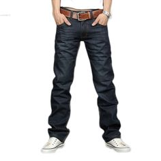 Father's day Korea Men's Jeans Slim Fit Classic denim Jeans Trousers Straight Leg Blue Size 30~34 Button New Blue dropshipping