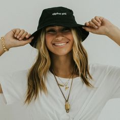 Black Bucket Hat (available for multiple organizations! Delta Tau Delta, Alpha Chi, Sorority Outfits, Sorority Life, Black Bucket Hat, Cotton Twill Fabric, Fashion Outfits, Tees, Ariel