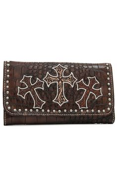 Blazin Roxx Ladies Brown Gator Print with Crosses Flap Wallet