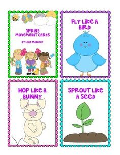 These spring themed movement cards will keep your students active inside on a rainy day! All while teaching them about different animals and improving their gross motor skills! Print and cut these out, laminate them and keep them all together on a metal ring.