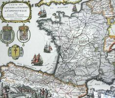 Saint James' Way ancient  french map from 1648.