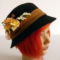 Black HatFlower hat Downton Abbey Bonnet by LulunaClothing on Etsy