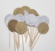 24 Gold and Silver Glitter Balloon Party by HeartlandShopTwo, $4.50