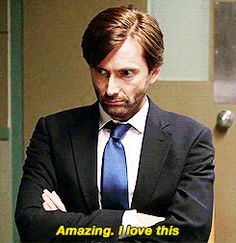 (Gif) I love his sarcasm ; David Tennant, 10th Doctor, Doctor Who, Tom Hiddleston, Toby Regbo, Pleasing People, Dominic Sherwood, Broadchurch, Michael Sheen