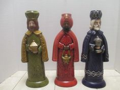 Vintage Ceramic Three Wise Men Candle Holders Hand Painted Christmas  Figurines
