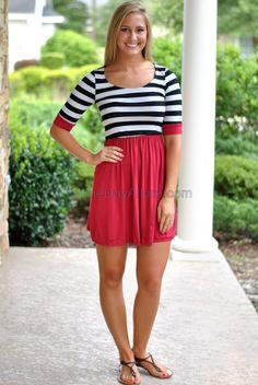 Stadium Stripe Dress- Crimson/Black