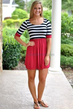 Stadium Stripe Dress- Crimson/Black