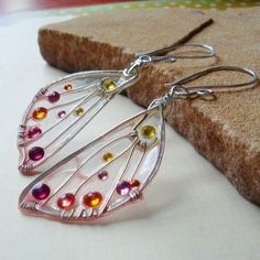 Silver wire wrapped beaded wing earrings