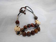 Black Leather Corded Bracelet with White Elephant and Leopard Jasper Stone Bead by NfntyArt on Etsy