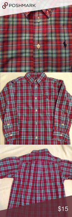 Ralph Lauren boys plaid shirt Ralph Lauren boys plaid long sleeve button down shirt, made of 100% cotton. In excellent condition. Ralph Lauren Shirts & Tops Button Down Shirts