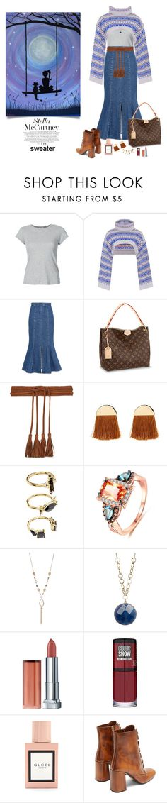 """Sweater"" by deborah-518 ❤ liked on Polyvore featuring RE/DONE, STELLA McCARTNEY, Maje, Noir Jewelry, Ruby Rd., 14th & Union, Maybelline, Gucci and Prada"